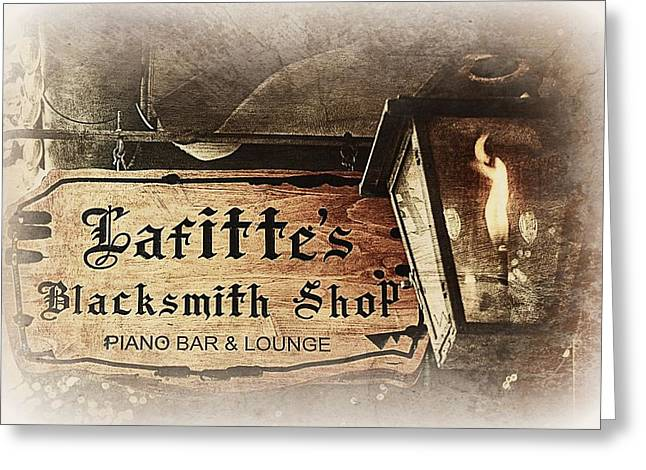 Hurricane Lamp Greeting Cards - Gas Light at Lafittes Blacksmith Shop Greeting Card by Toni Abdnour