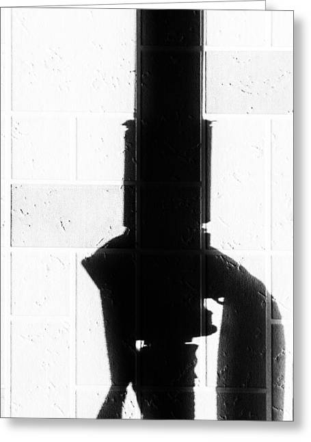 Gas Pipe Abstract In Black And White Greeting Card by John Williams