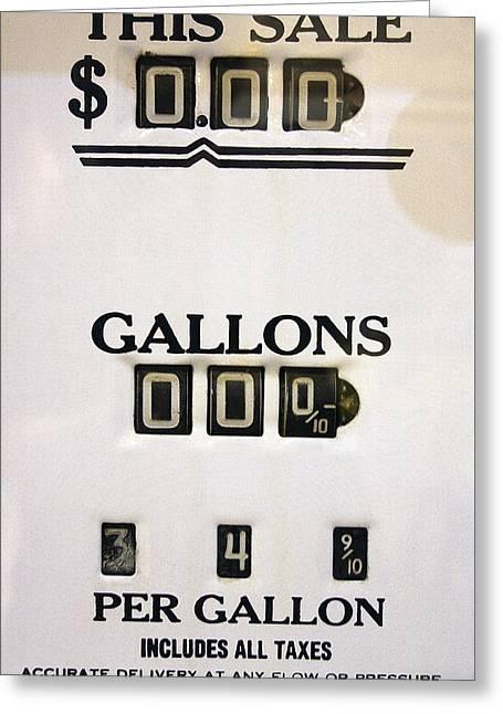 Gas Meter Greeting Cards - GAS PUMP METER 1940s Greeting Card by Daniel Hagerman