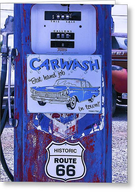 Gas Pump Route 66 Greeting Card by Garry Gay
