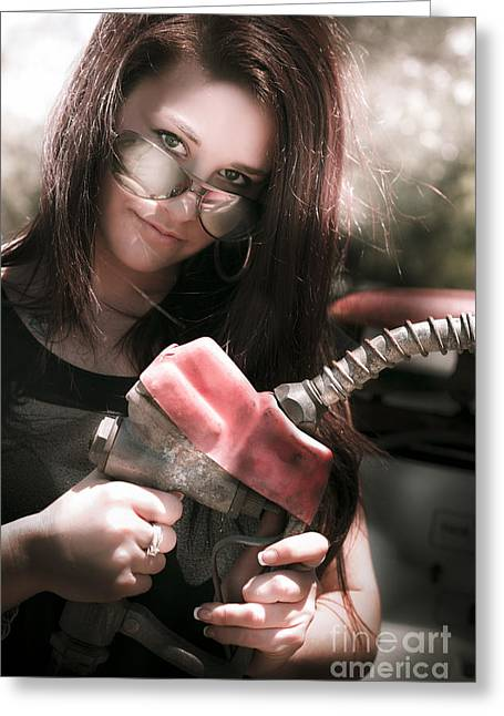 Pumping Station Greeting Cards - Gas Pump Greeting Card by Ryan Jorgensen