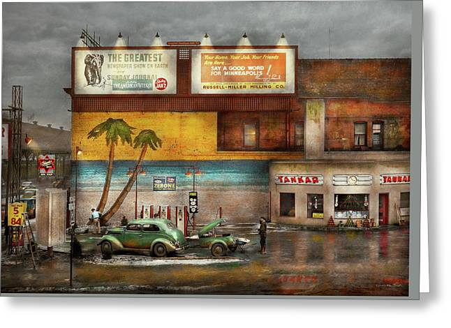 Gas Station - Dreaming Of Summer 1937 Greeting Card by Mike Savad