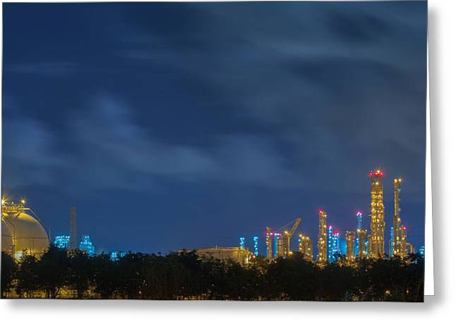 Industrial Background Greeting Cards - Gas storage tanks and a large oil-refinery plant Greeting Card by Anek Suwannaphoom