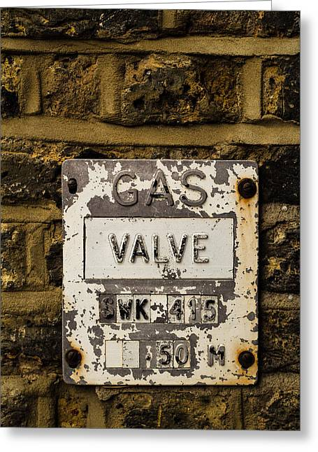 Manual Greeting Cards - Gas Valve Greeting Card by Claire  Doherty