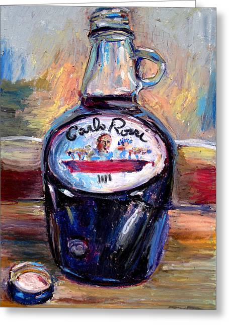 Wine Grapes Pastels Greeting Cards - Gasoline Wine Greeting Card by Thomas Daseler