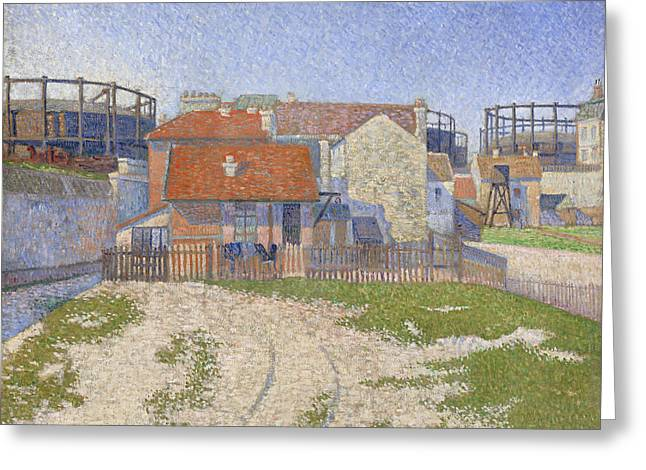Gasometers At Clichy Greeting Card by Paul Signac