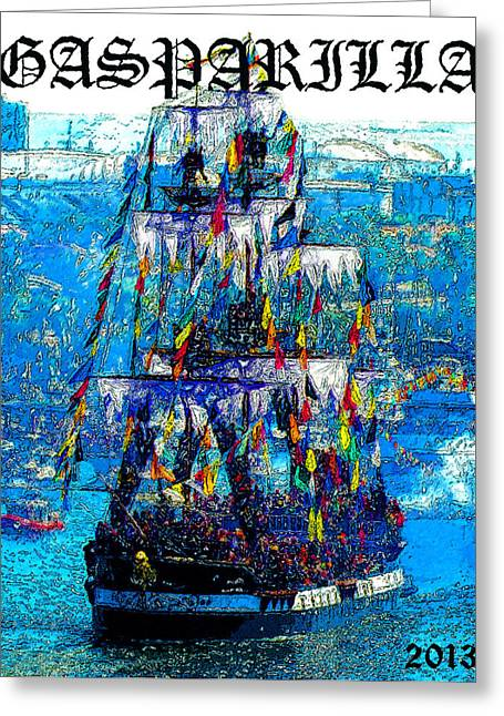 Recently Sold -  - Pirate Ships Greeting Cards - Gasparilla 2013 poster work A Greeting Card by David Lee Thompson