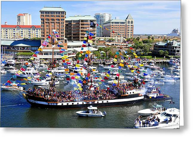 Gasparilla And Harbor Island Florida Greeting Card by David Lee Thompson