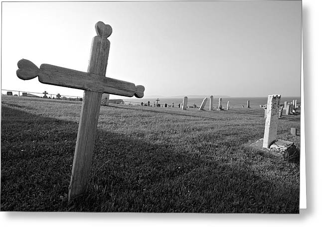 The Wooden Cross Photographs Greeting Cards - Gaspe Cemetery Greeting Card by John Meader