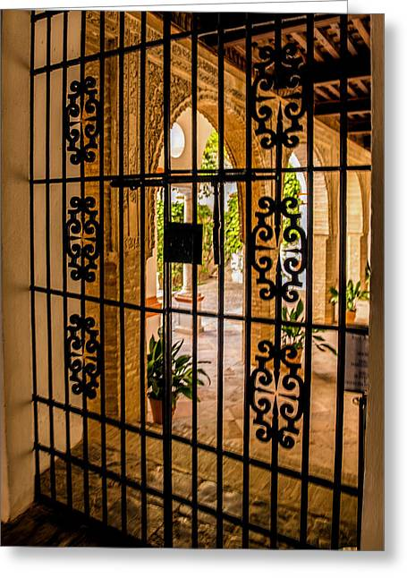 Iron Maiden Greeting Cards - Gate - Alcazar of Seville - Seville Spain Greeting Card by Jon Berghoff
