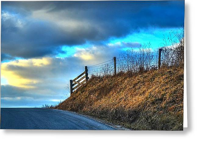 Julie Dant Greeting Cards - Gate at the Crest Greeting Card by Julie Dant