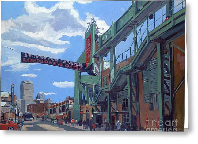Baseball Paintings Greeting Cards - Gate C Greeting Card by Deb Putnam