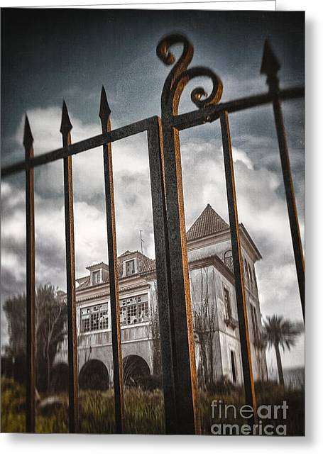 Destroyed Greeting Cards - Gate to Haunted House Greeting Card by Carlos Caetano