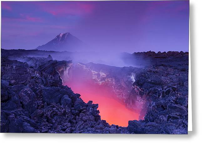 Eruption Greeting Cards - Gate To Hell Greeting Card by Denis Budkov