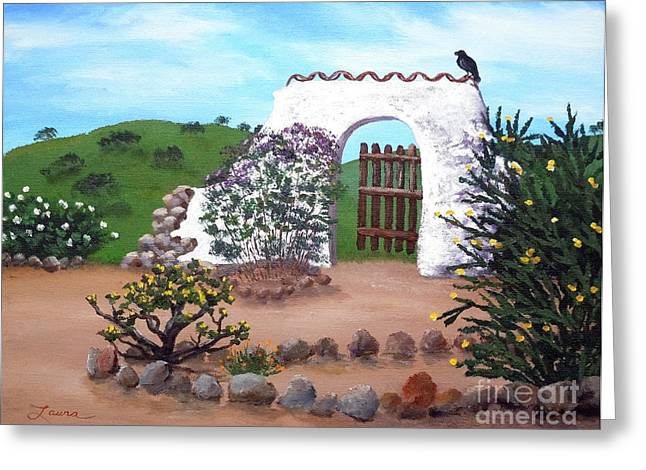 California Hills Greeting Cards - Gate to Nowhere Greeting Card by Laura Iverson