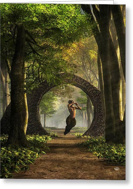 Gate To Pan's Garden Greeting Card by Daniel Eskridge