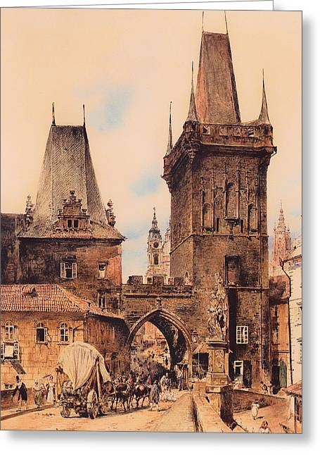 Gateway Church Greeting Cards - Gate to Prague Greeting Card by Rudolf von Alt