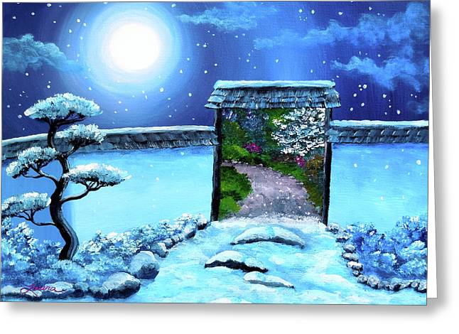 Shinto Greeting Cards - Gate to Spring Greeting Card by Laura Iverson