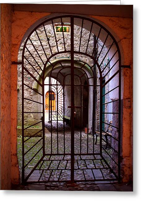 Wrought Iron Gate Greeting Cards - Gated Passage Greeting Card by Tim Nyberg