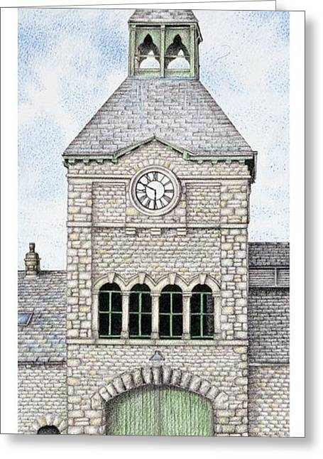 Blue And Green Drawings Greeting Cards - Gatehouse Clock   Caton Road  Lancaster   Lancashire Greeting Card by Sandra Moore
