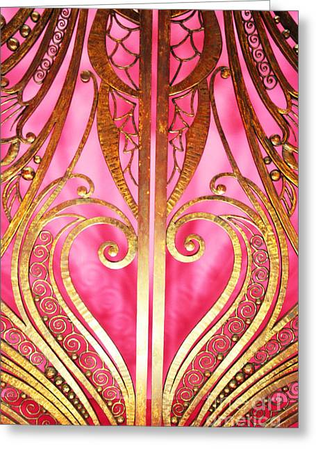 Portal Greeting Cards - Gates of Heaven in Pink and Gold Greeting Card by Anahi DeCanio - ArtyZen Studios