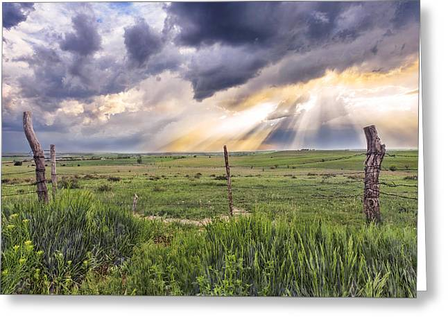Crepuscular Rays Greeting Cards - Gates of Heaven Greeting Card by Jill Van Doren Rolo