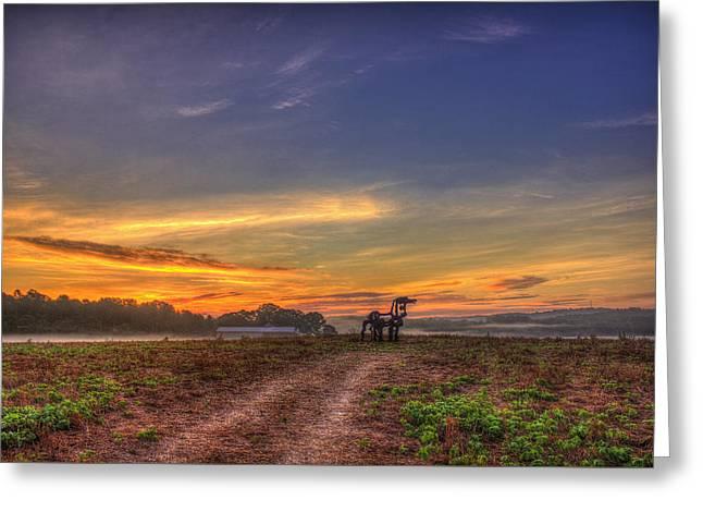 Gateway Sunrise The Iron Horse  Greeting Card by Reid Callaway