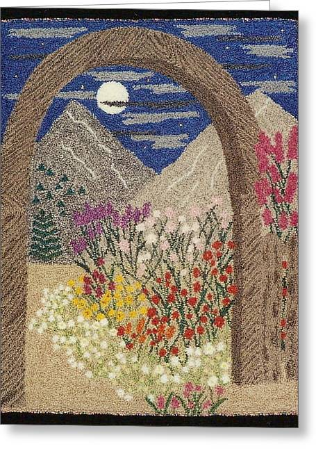 Primitive Tapestries - Textiles Greeting Cards - Gateway To Paradise Greeting Card by Jan Schlieper