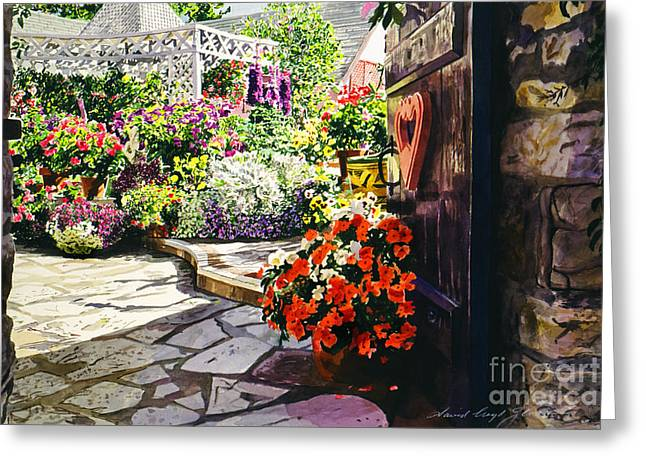 Stone Steps Paintings Greeting Cards - Gateway to the B and B Greeting Card by David Lloyd Glover