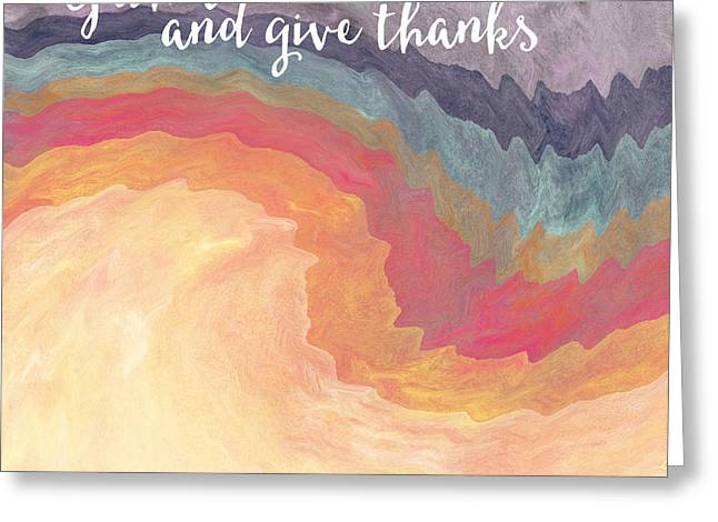Barrel Mixed Media Greeting Cards - Gather and Give Thanks- Abstract Art by Linda Woods Greeting Card by Linda Woods