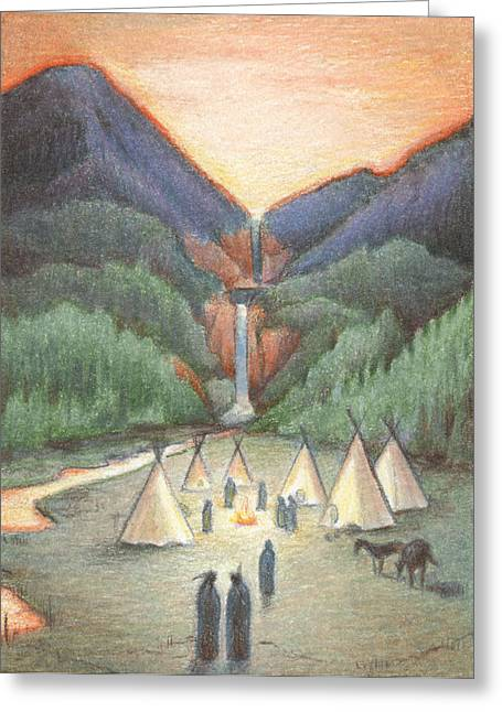 Powwow Greeting Cards - Gathering At The Falls Greeting Card by Amy S Turner