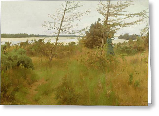 Gathering Firewood By The Shore Of A Lake Greeting Card by Alexander Mann