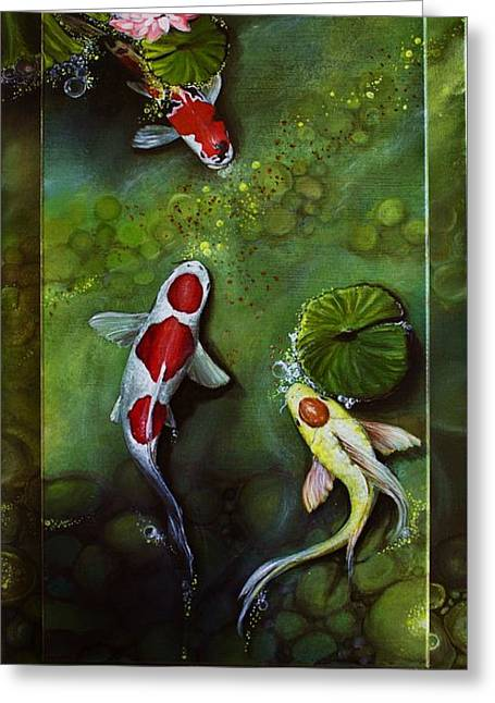 Water Lilly Greeting Cards - Gathering in Light #3 Greeting Card by Vivian Holabird