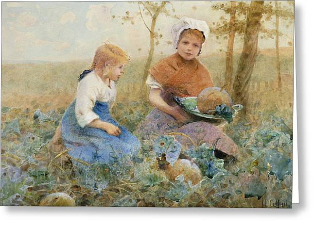Gathering Pumpkins Greeting Card by Hector Caffieri