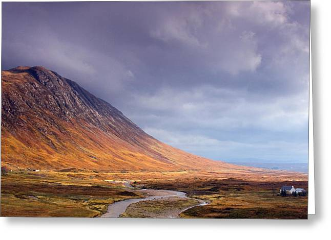 Rannoch Moor Greeting Cards - Gathering Storm Glencoe Greeting Card by John McKinlay