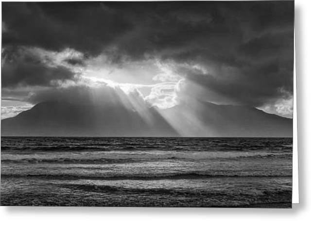 Sand Patterns Greeting Cards - Gathering Storm over The Isle Of Rhum Greeting Card by John Potter