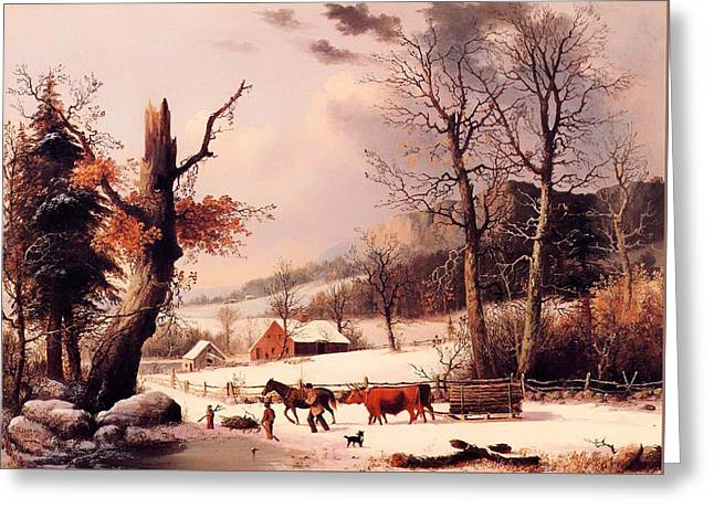 Sled.fence Greeting Cards - Gathering Wood For Winter Greeting Card by George Henry Durrie