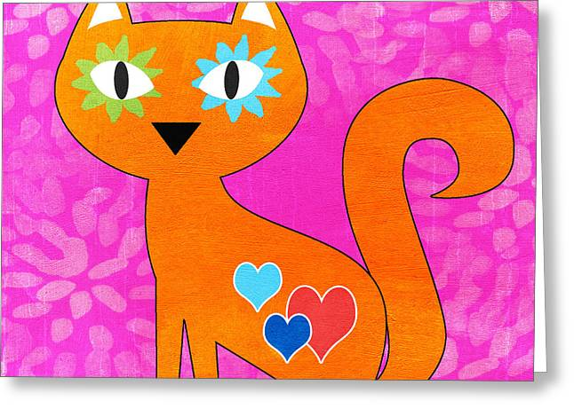 Dorm Room Art Greeting Cards - Gato Greeting Card by Linda Woods