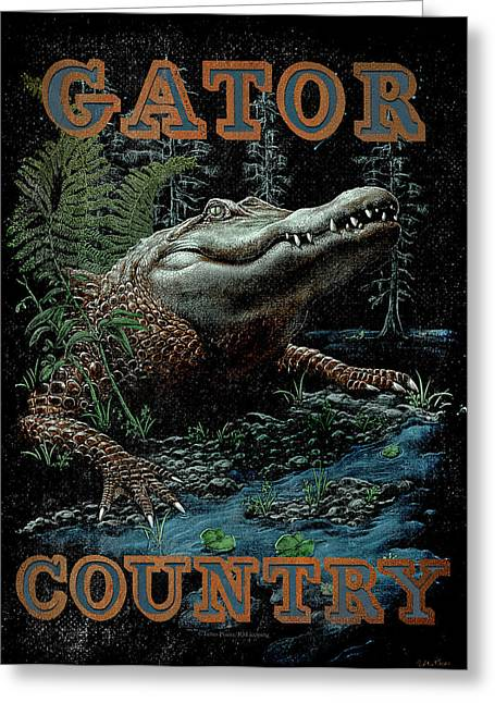 Team Paintings Greeting Cards - Gator Country Greeting Card by JQ Licensing