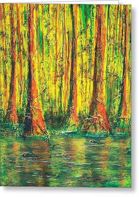 Florida Gators Mixed Media Greeting Cards - Gator Swamp Greeting Card by Sandy Hemmer