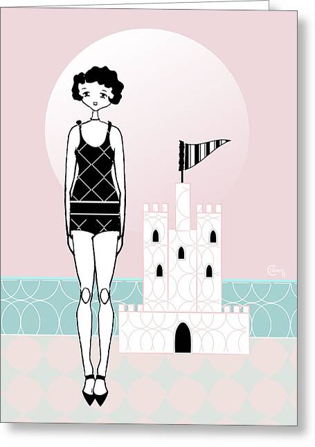 Sand Castles Greeting Cards - Gatsby Flapper Girl Pink Sand Castle Beach Greeting Card by Cecely Bloom