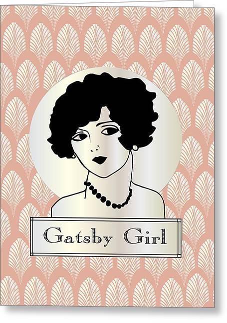 Hair-style Greeting Cards - GATSBY GIRL in pink Greeting Card by Cecely Bloom