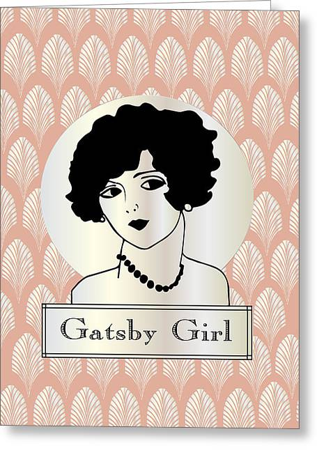 Hair Styles Greeting Cards - GATSBY GIRL in pink and pearl Greeting Card by Cecely Bloom