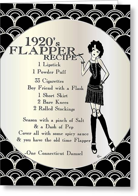 Belle Epoch Greeting Cards - Gatsby Girl Recipe to be a 1920s Flapper Girl Greeting Card by Cecely Bloom
