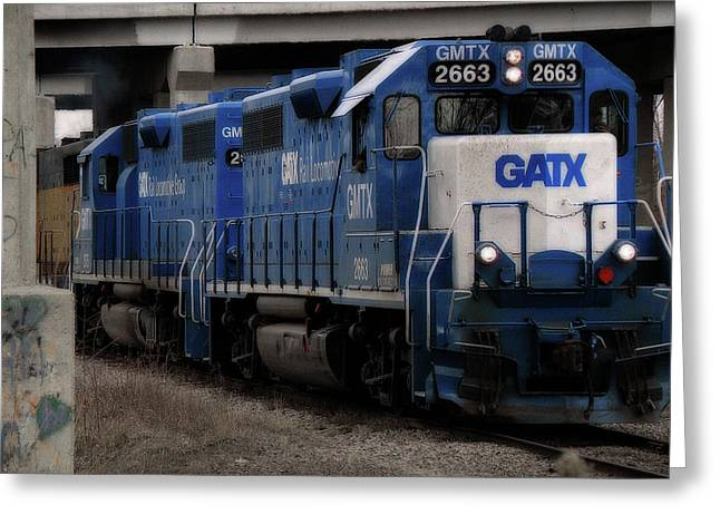 Railroad Tie Greeting Cards - GATX Freight Train Greeting Card by Scott Hovind
