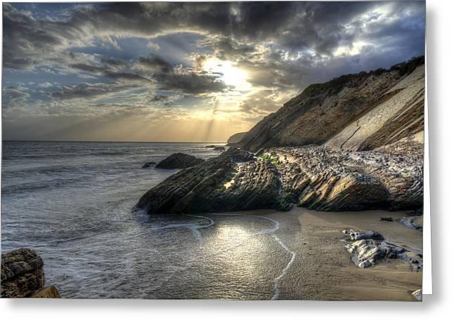 Gaviota Beach Blue Rays Greeting Card by Brad Kazmerzak