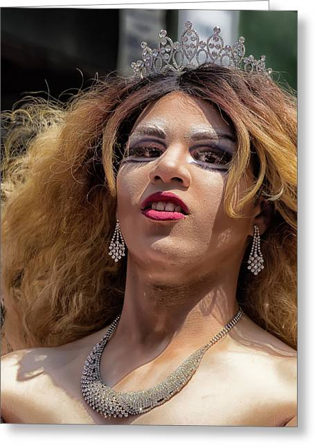 Gay Pride Parade Nyc 2016 Drag Queen Greeting Card by Robert Ullmann