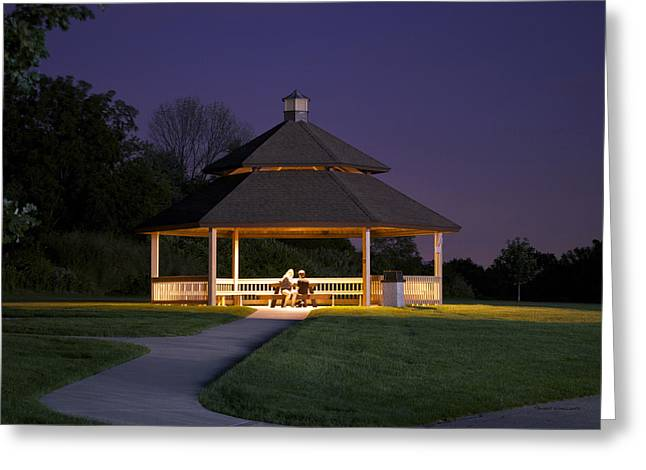 Tress Greeting Cards Greeting Cards - Gazebo During The Blue Moments Frankfort IL Greeting Card by Thomas Woolworth