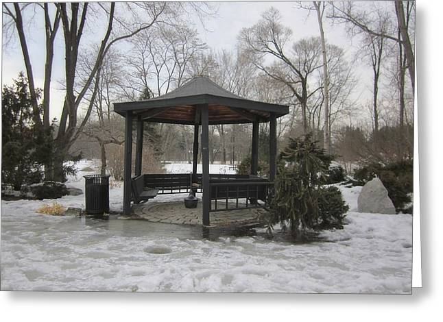 New England Snow Scene Greeting Cards - Gazebo on Ice Greeting Card by MTBobbins Photography