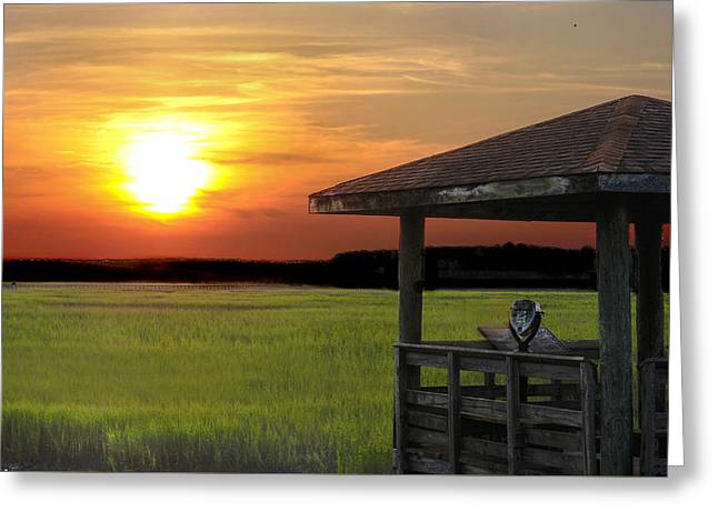 Canon 40d Greeting Cards - Gazebo on the Marsh Greeting Card by Terry Shoemaker
